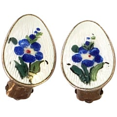 Gold Wash Over Sterling Silver Blue Flower Clip-On Earrings