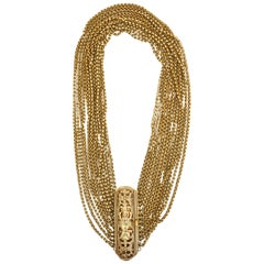 Gold Wash over Sterling Silver Link Beaded Strand Necklace with Egyptian Clasp