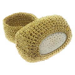 Gold White Coral Cocktail Ring 18 Karat One of a Kind Modern Handmade Crochet