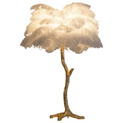 Gold White Feather Lamp