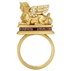 Gold Winged Sphinx Lion Talismanic Ring in 18 Karat Gold