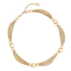 Gold Wire Scalloped Choker By Napier, 1960s