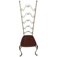 Gold Wrought Iron Chair Velvet Seat Pierre Luigi Colli 1950