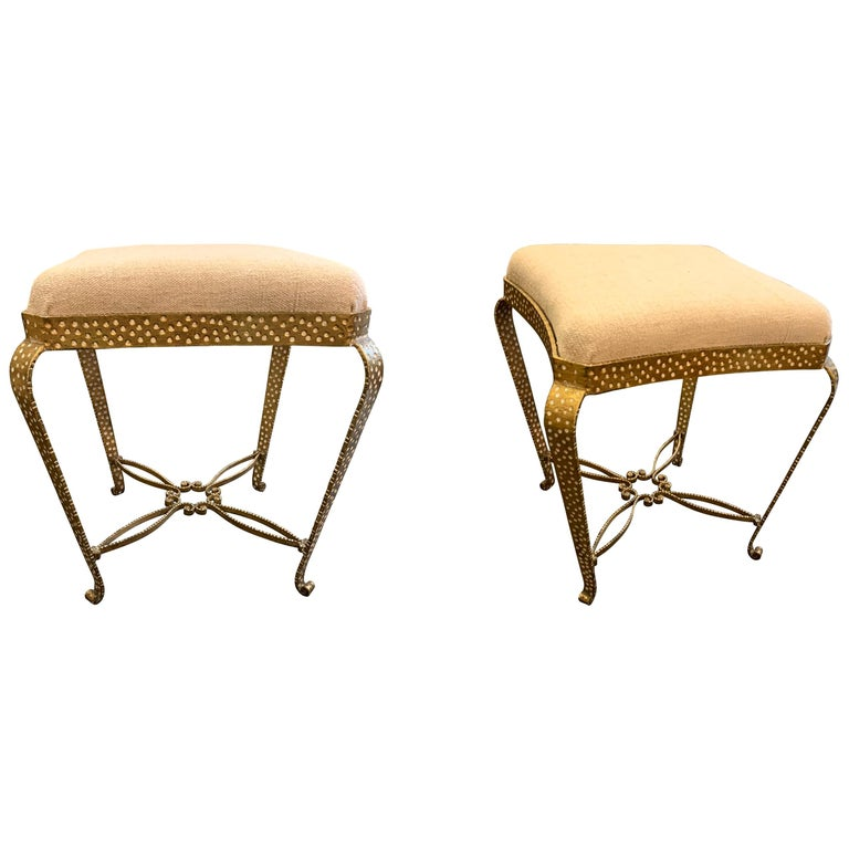 Gold Wrought Iron Pier Luigi Colli Pair of Foot Stools, Italy, Midcentury For Sale