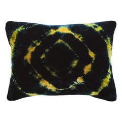 Gold Yellow and Blue Indigo Halo Velvet Pillow with Linen Backing
