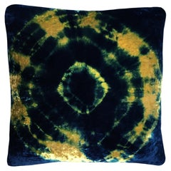 Gold Yellow and Blue Indigo Halo Velvet 18 Pillow with Linen Backing