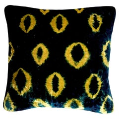 Gold Yellow and Blue Indigo Ikat Velvet Pillow with Linen Backing