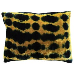 Gold Yellow and Blue Indigo Inkblot Velvet Pillow with Linen Backing