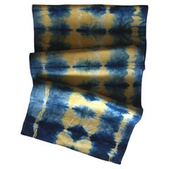 Gold Yellow and Blue Indigo Pleat Linen Table Runner