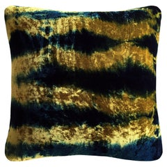 Gold Yellow and Blue Indigo Pleat Velvet Pillow with Linen Backing