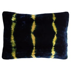 Gold Yellow and Blue Indigo Striped Velvet Pillow with Linen Backing