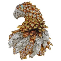 Gold Yellow White Black Diamond Eagle Brooch
