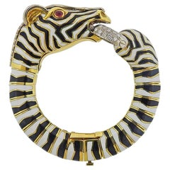 Gold Zebra Ruby Diamond Enamel Bracelet