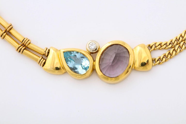 Contemporary Gold, Amethyst, Blue Topaz and Diamond Choker For Sale