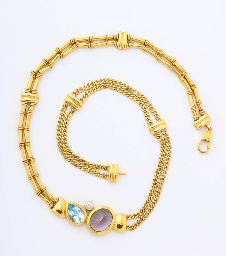 Women's Gold, Amethyst, Blue Topaz and Diamond Choker For Sale