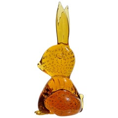 Golden Amber Controlled Bubbles Italian Art Glass Vintage Bunny Rabbit Figurine