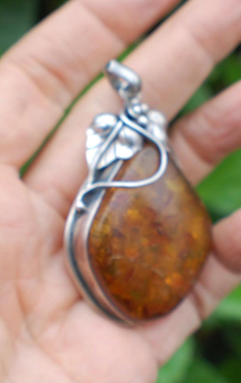 Artisan Golden Amber Sterling Leaf Sterling Silver Jumbo Pendant