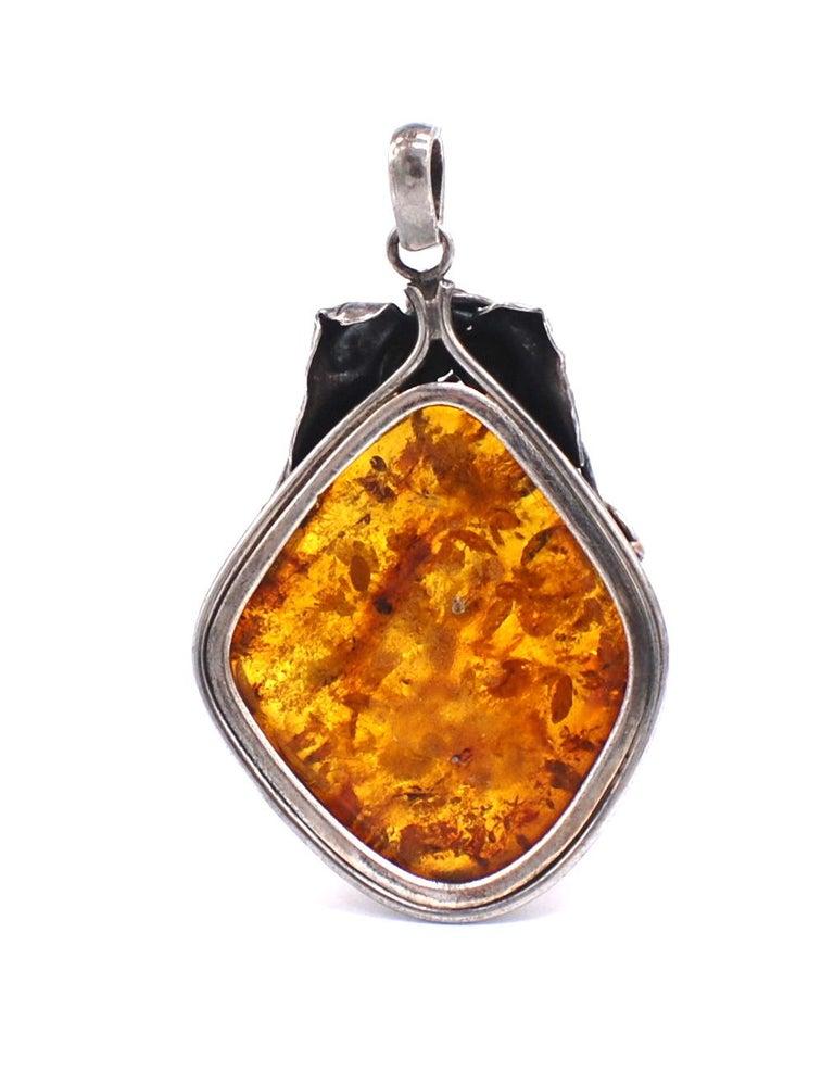 Cabochon Golden Amber Sterling Leaf Sterling Silver Jumbo Pendant