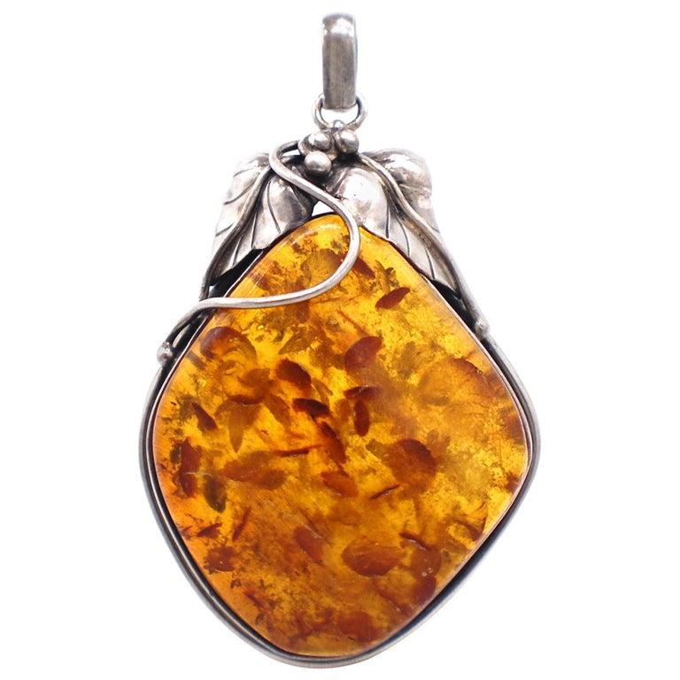 Golden Amber Sterling Leaf Sterling Silver Jumbo Pendant