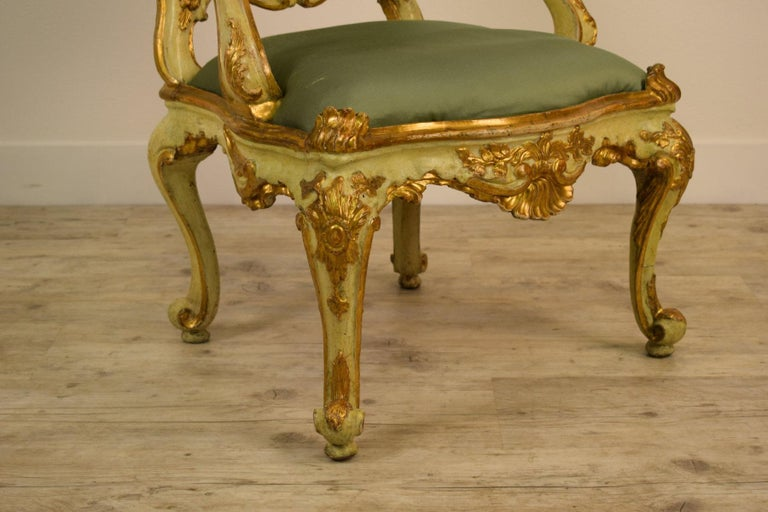 Louis XV Golden and Lacquered Wood Venetian Armchair, 18th Century For Sale