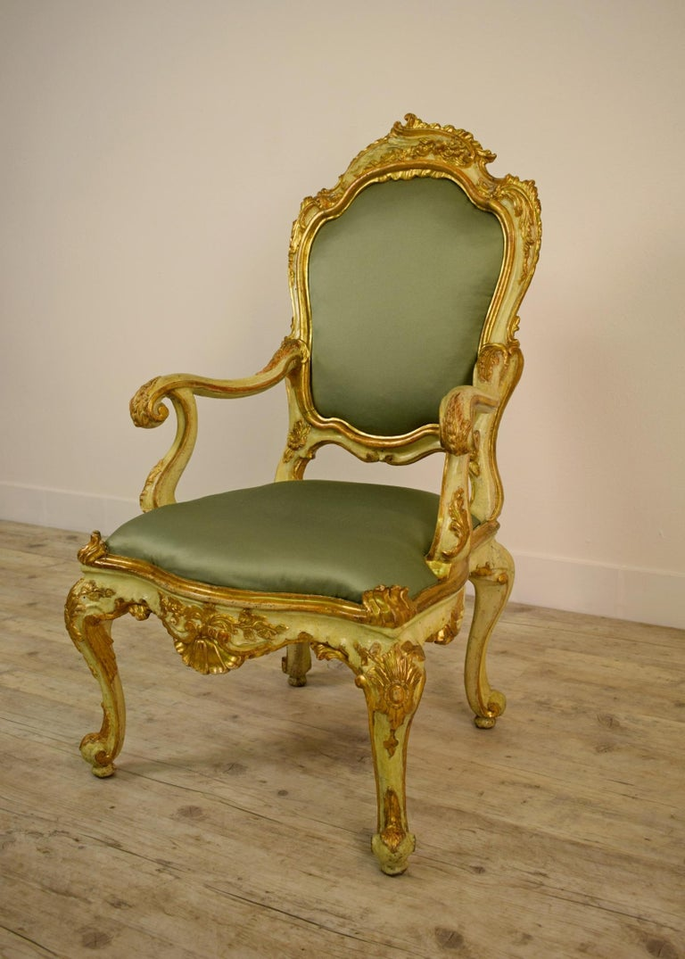 Italian Golden and Lacquered Wood Venetian Armchair, 18th Century For Sale