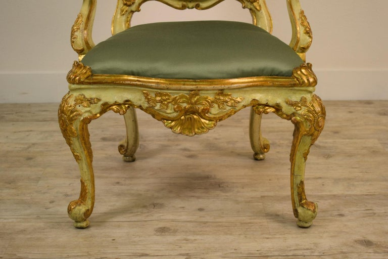 Hardwood Golden and Lacquered Wood Venetian Armchair, 18th Century For Sale