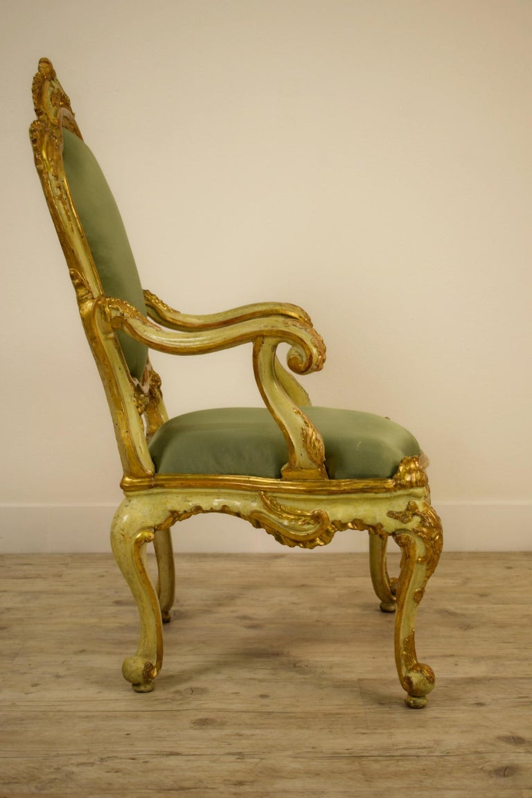 Golden and Lacquered Wood Venetian Armchair, 18th Century For Sale 1