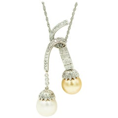 Golden and White South Sea Pearl Drop Diamond White Gold Negligee Necklace