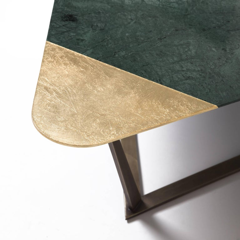 Other Golden Archer Coffee Table in Nero Marquina, Verde Guatemala, Gold Leaf For Sale