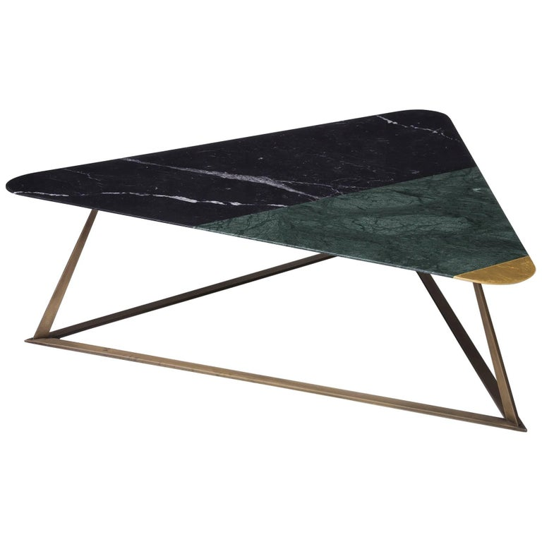 Golden Archer Coffee Table in Nero Marquina, Verde Guatemala, Gold Leaf For Sale