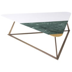 Golden Archer Coffee Table in White Tassos, Verde Guatemala, Gold Leaf