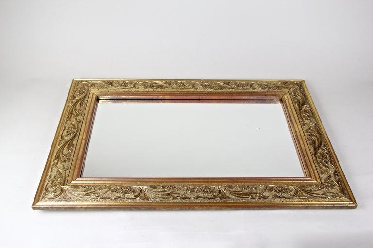 Spruce Golden Art Nouveau Mirror, Austria, circa 1900 For Sale