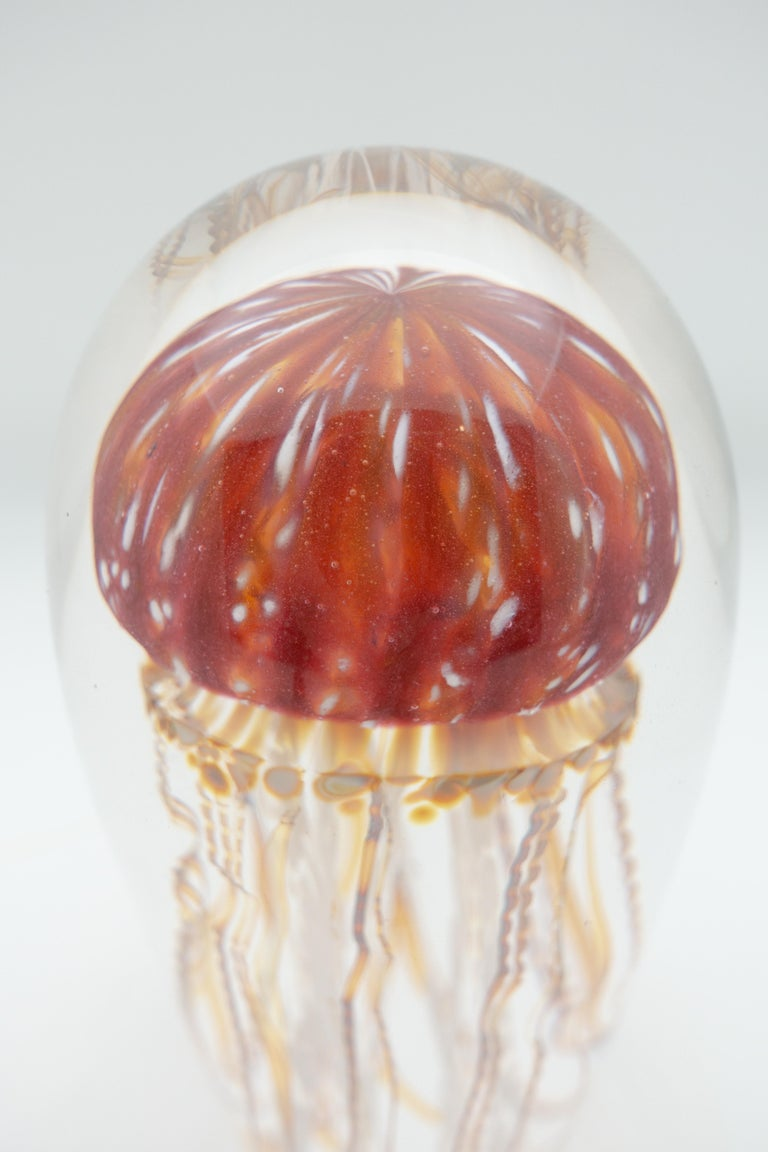American Golden Barberry Glass Jellyfish Sculpture For Sale