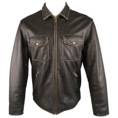 GOLDEN BEAR 42 Dark Brown Distressed Leather Snap Pocket Jacket