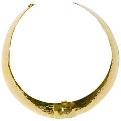 Golden Bear Diamond and 14 Karat Yellow Gold Hammered Collar Necklace