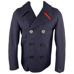 GOLDEN BEAR x UNIONMADE Size 40 Navy Wool Double Breasted Peacoat