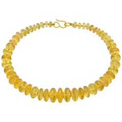 Golden Beryl and 22 Karat Yellow Gold Bead Drop Necklace