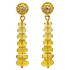 Golden Beryl, Champagne Diamond and 22 Karat Yellow Gold Bead Drop Earrings
