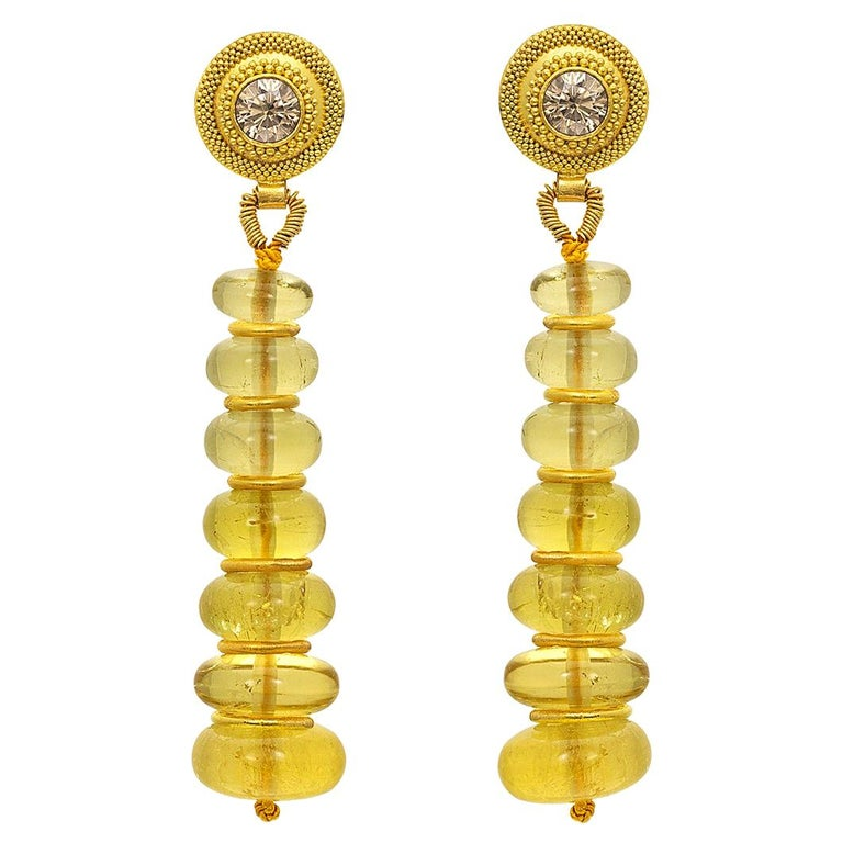 Golden Beryl, Champagne Diamond and 22 Karat Yellow Gold Bead Drop Earrings For Sale