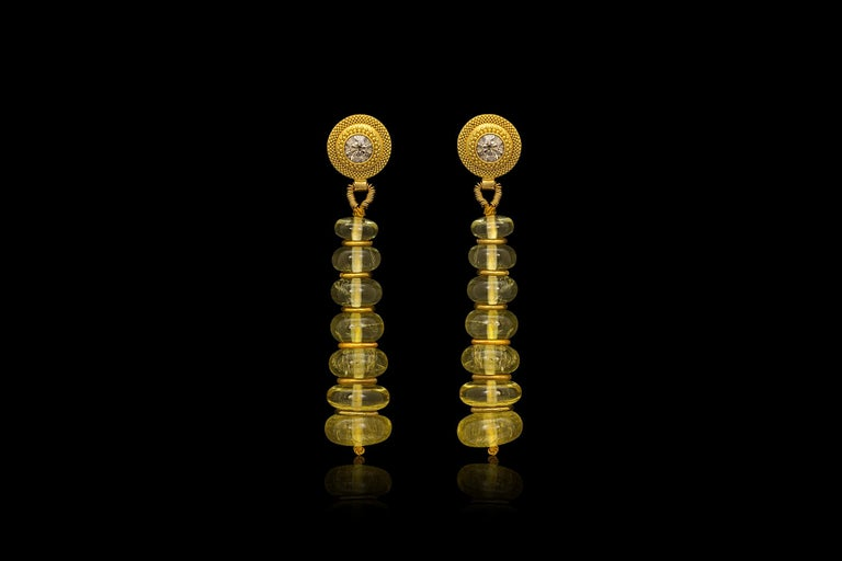 Contemporary Golden Beryl, Champagne Diamond and 22 Karat Yellow Gold Bead Drop Earrings For Sale