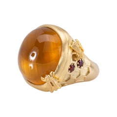 Golden Beryl Honeycomb Ring