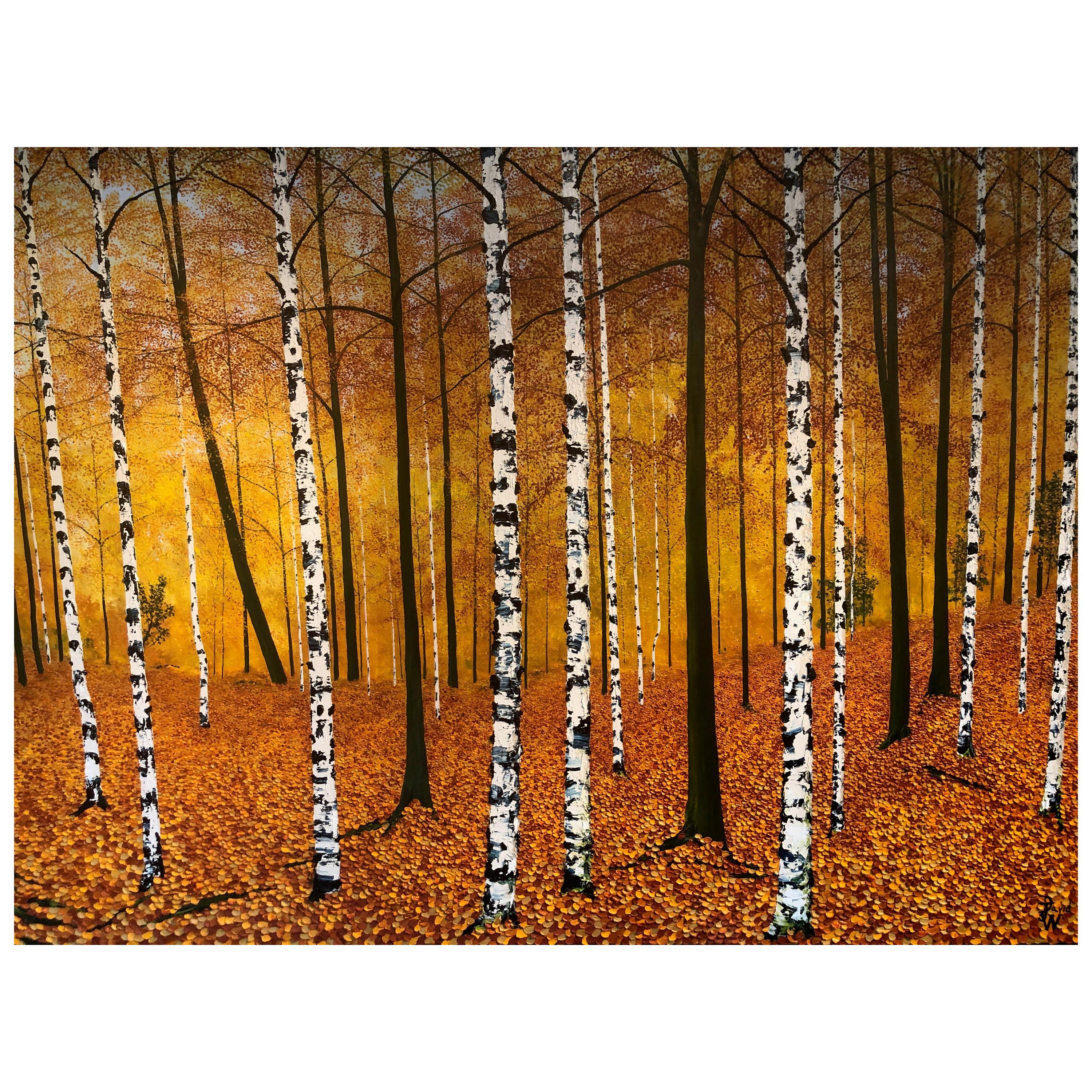 """""""Golden Birches"""" Contemporary Oil Painting by David Williams"""