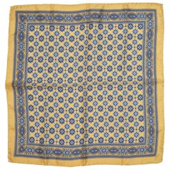 Golden Border with Majestic Multi-Blue Center Men's Silk Handkerchief