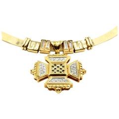 Golden Bough 14 Karat Yellow Gold Collar Necklace with Custom Diamond Slides