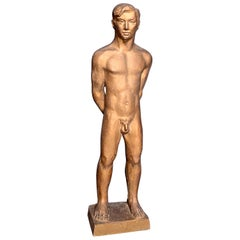 """Golden Youth,"" Exceptional Nude Male Sculpture by Jared French, Cadmus estate"