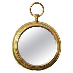 Brass Pocket Watch Wall Mirror in the Style of Piero Fornasetti