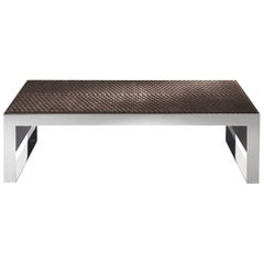 Golden Bridge Central Table in Metal & Leather by Roberto Cavalli Home Interiors