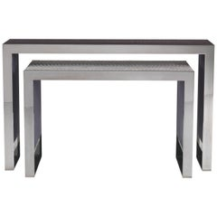 Golden Bridge Console Table in Metal with Carbalho Grey Top by Roberto Cavalli
