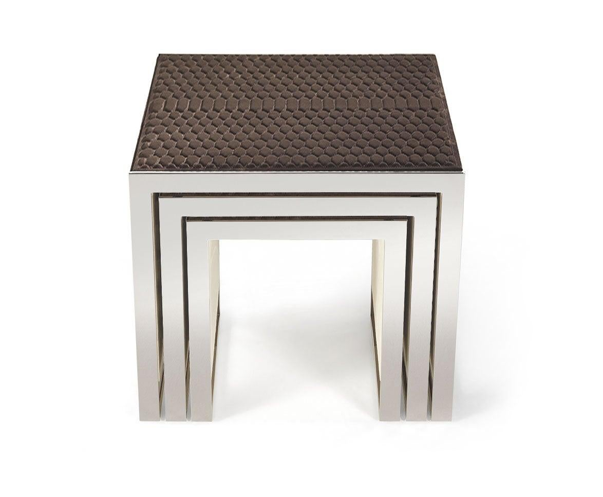 Golden Bridge Side Table with Leather Top by Roberto Cavalli Home Interiors