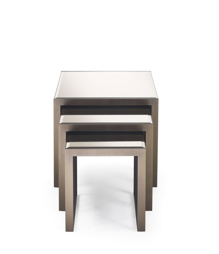 Golden Bridge Side Table with Metal Base by Roberto Cavalli Home Interiors For Sale